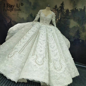 10 Years Workmanship Long Sleeves Lace Applique Rhinestones Crystal Luxury Wedding Dress 2020 New Design