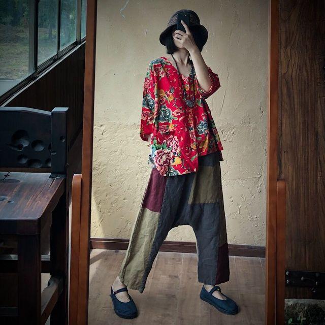 Women Loose Printed V Neck Irregular Length Blouse Tops Ladies Vintage Print Cotton Linen Tops Shirt Female 2020 Blouses 4