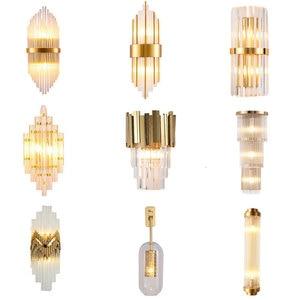 Image 5 - מודרני קריסטל מנורת קיר זהב פמוט אורות AC110V 220V אופנה יוקרה זוהר סלון חדר שינה אור גופי