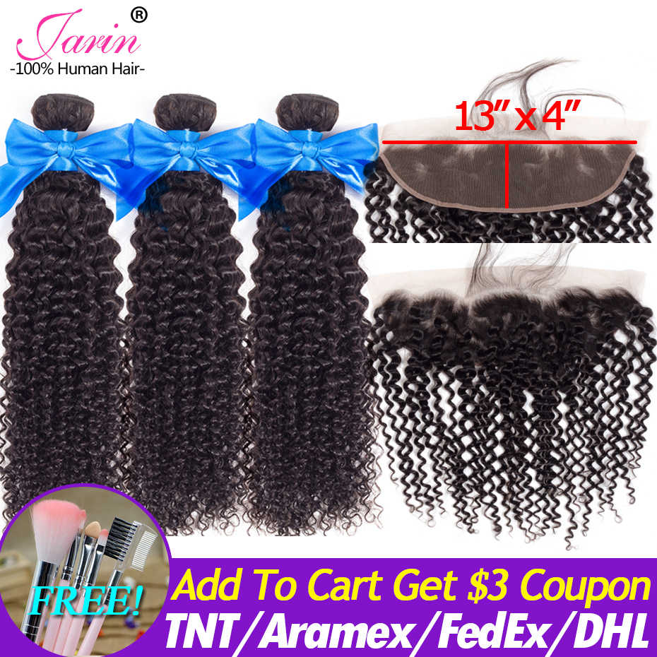 Brazilian Kinky Curly Hair Bundles With Closure 13x4 Bundle With Lace Frontal Remy Human Hair Weave Bundles Natural Black Jarin