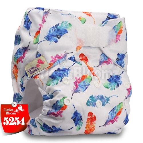 [Littles&Bloomz] Детские Моющиеся Многоразовые, настоящая стандартная ткань, застежка-липучка, карман для подгузников, пеленки, обертывание, подходит для рождения в горшке - Цвет: 5254