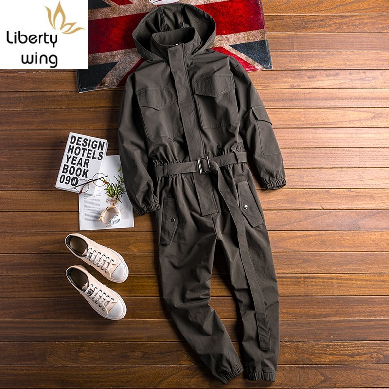 2020 Autumn New Mens Hoody Overalls Long Sleeve Jumpsuit Joggers Cargo Pants Hip Hop Casual Jumpsuits Sashes One Piece Rompers