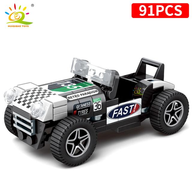 HUIQIBAO City speed Champions Car building Blocks Racing Sport auto Car Super Racers man Bricks construction Toys For Children
