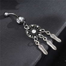 New Dangle Dreamcatch Tassel Rhinestone Body Piercing Dangle Crystal Navel Belly Button Bar Barbell Rings