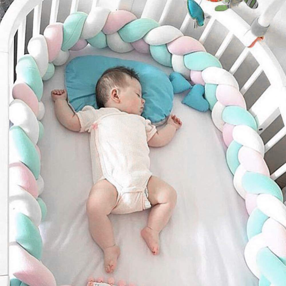 1M/2M/3M Baby Bed Bumper Braid Knot Pillow Cushion Bumper for Baby Decoration Room Infant Bebe Protect Baby Cot Crib Bumper(China)