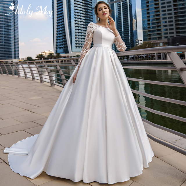 Adoly Mey New Arrival Scoop Neck Button Satin A Line Wedding Dresses 2020 Full Sleeve Appliques Court Train Vintage Wedding Gown