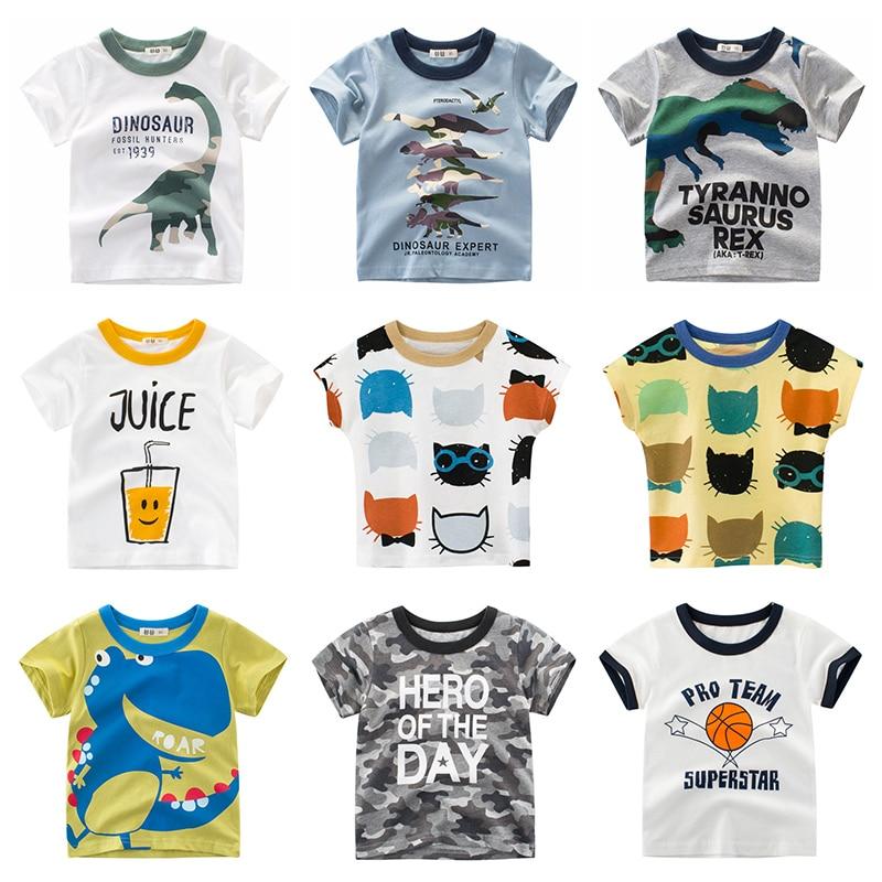 Boys T Shirt Underwear Clothing Short Sleeves Cotton Dinosaur Kids Girls Children Toddler Tee Summer Clothes Cartoon 2-8 Years