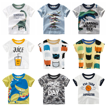 Boys T Shirt Underwear Clothing Short Sleeves Cotton Dinosaur Kids Girls Children Toddler Tee Summer Clothes Cartoon 2-8 Years children t shirt long sleeves kids boys girls cotton tops baby dinosaur print cartoon clothing tee 2 8 years clothes full