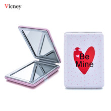 Vicney Love New Portable Pocket Makeup Mirror Sweet Pink Cute Double Sides Folding Make Up Compact Mirrors Square Four Types(China)