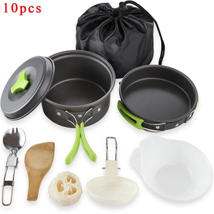 Portable Camping vaisselle ensemble de cuisine en plein air ustensiles de cuisine casserole pot bol cuillère fourchette ustensiles pour randonnée pique-nique voyage campismo sauvage