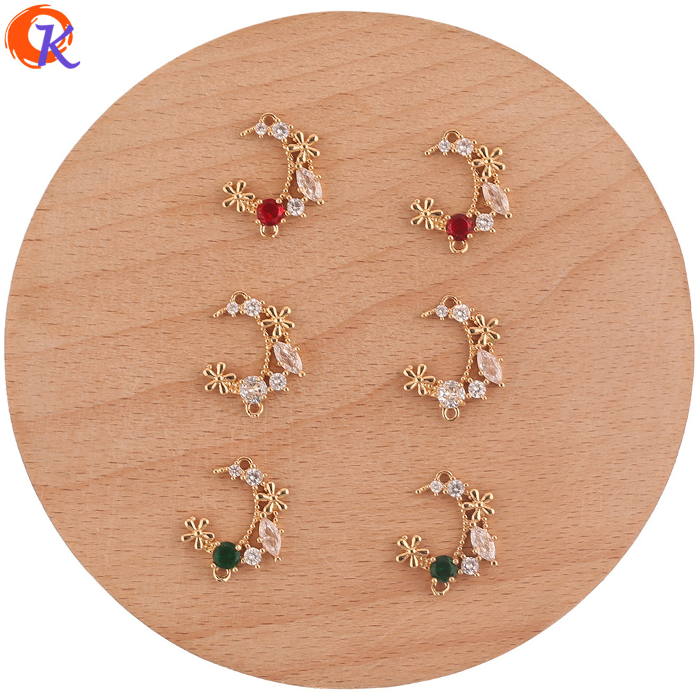 Cordial Design 40Pcs 15*18MM Jewelry Accessories/Colored Crystal Charms/Moon Shape/Hand Made/Earring Findings/Connect/DIY Making