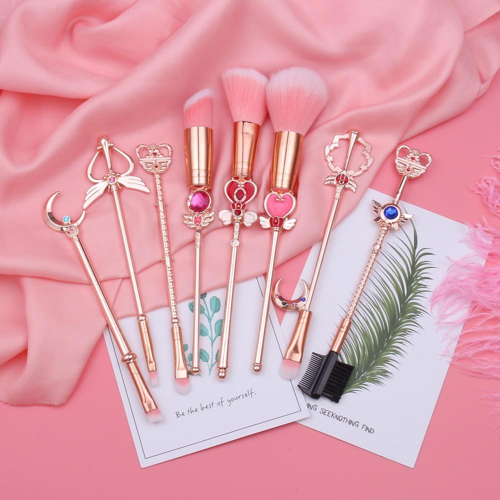 Hot Sailor Moon Cosmetic Brush Makeup Brushes Set 8pcs Tools Kit Eye Liner Shader Foundation Powder Natural-Synthetic Pink Hair