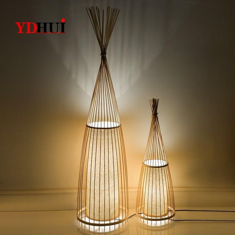 Ancienne décoration créative de lampadaires en bambou chinois debout staande lampe led lampadaires pour salon Vloer