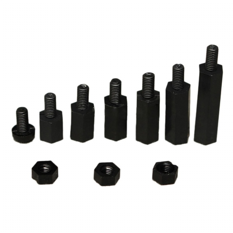 Fashion180Pcs Black Nylon M3 Hex Column Male-Female Standoff Spacers Screw Nut Kit Box