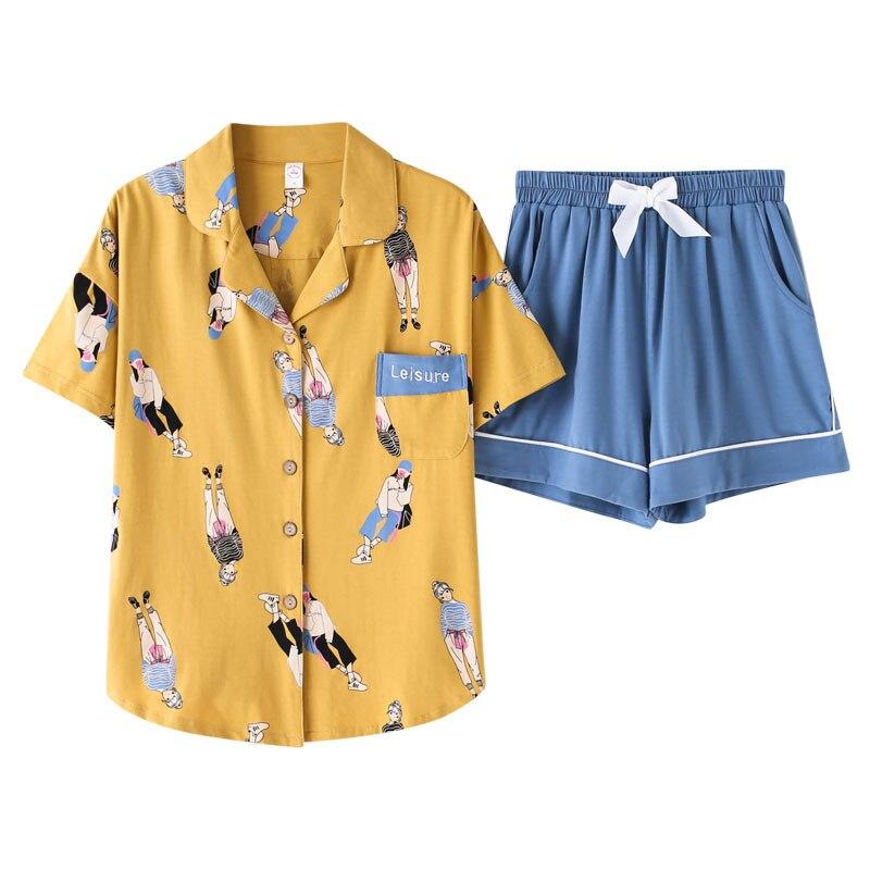 BZEL Fashion Cartoon Pajamas Set Autumn Cotton Sleepwear For Women Casual Home Wear Ladies Night Big Size Pijamas Pyjamas M-XXXL