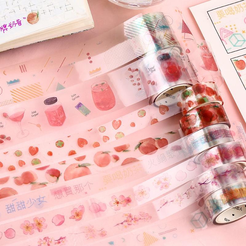 3 Pcs Washi Tape Set Masking PET Transparent Washitape Stickers Scrapbooking Whasi Cinta Adhesiva Decorativa Strawberry Kawaii