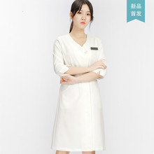 Hairdresser's Beauty Salon Workwear, White Coat, Short Sleeve Nurse's Clothing, Long Sleeve Doctor's Clothing, Embroidery Skin M