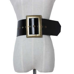 Image 1 - 高品質本革女性ベルト幅パンクファッションビッグスクエアバックル黒のウエストのドレス装飾ベルトcinturon mujer