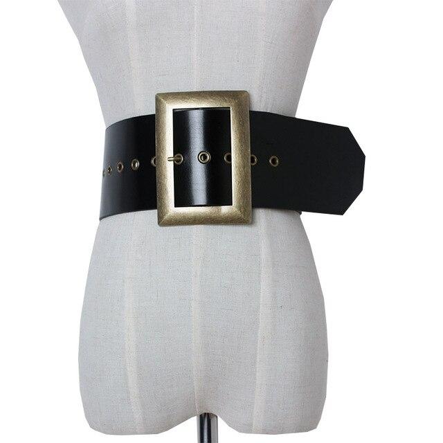 高品質本革女性ベルト幅パンクファッションビッグスクエアバックル黒のウエストのドレス装飾ベルトcinturon mujer