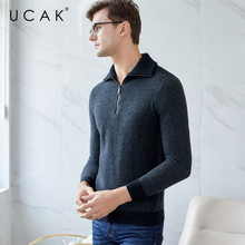 UCAk Brand Sweater Men 2019 New Arrival Casual Zipper Turtleneck Streetwear Pure Merino Wool Warm Thick Sweaters Pullover U3127
