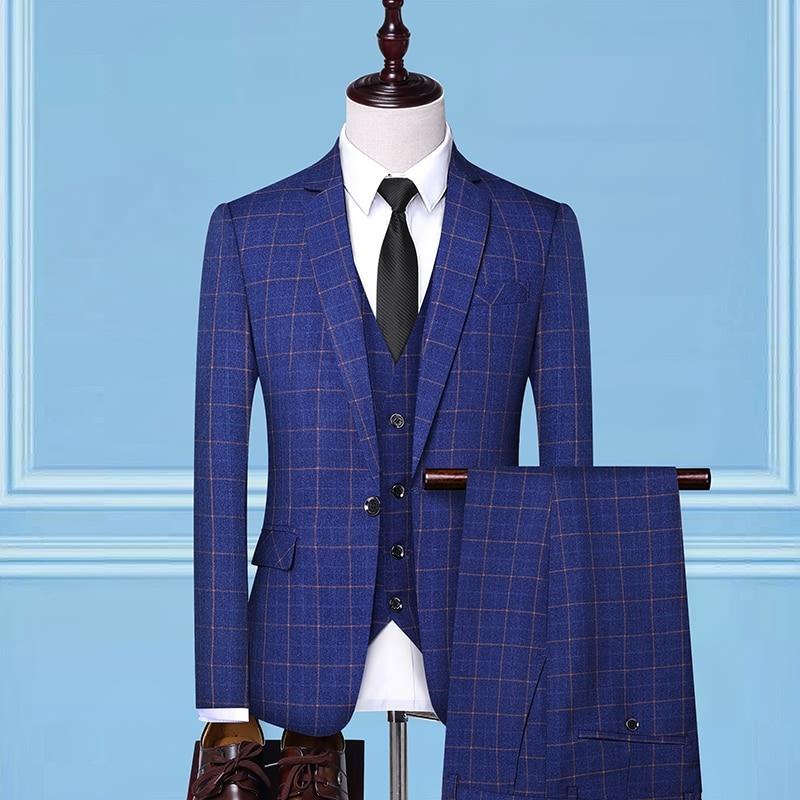 2019 Suit Three-piece Men's Slim Check Suit Groom Wedding Dress (jacket + Pants + Vest) Men's Boutique Business Casual Suits