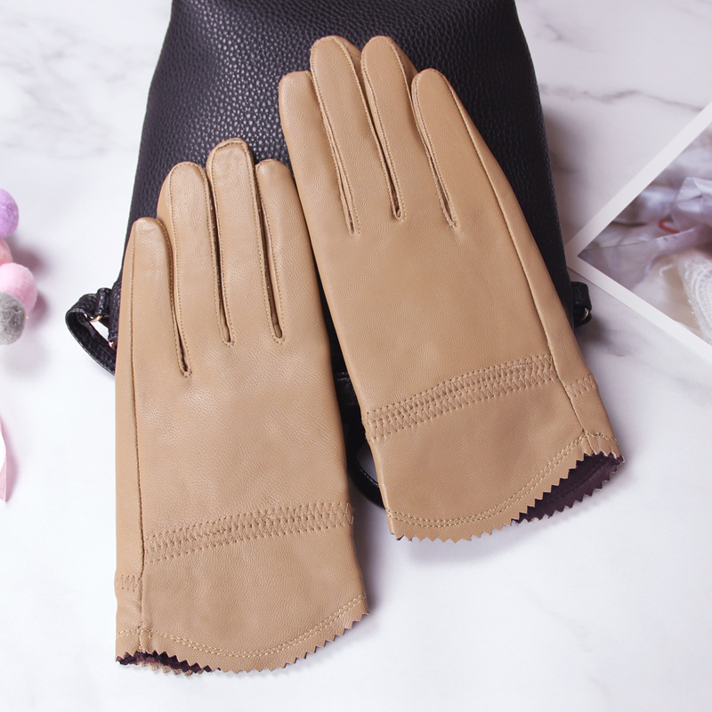Autumn Winter Leather Gloves Women Sheepskin  Wrist Casual  Driving