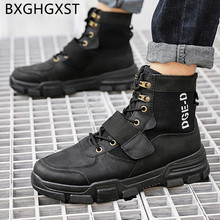 leather boots men Harajuku shoes black platform boots men 2020 fashion vintage shoes ankle boots mens shoes casual обувь мужская(China)