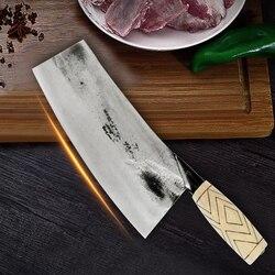 Siekanie nóż kuchenny noże szefa kuchni ze stali nierdzewnej ostry ręcznie kuty uchwyt z drewna akcesoria narzędzia kuchenne nóż rzeźnicki