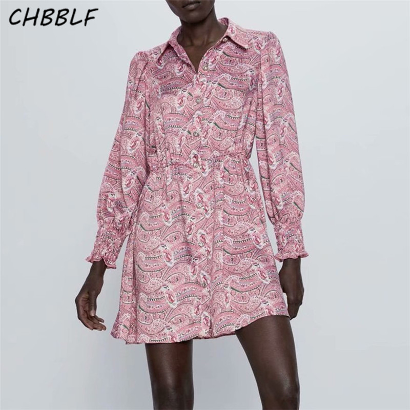 CHBBLF Women Vintage Print Mini Dress Long Sleeve Turn Down Collar Elastic Waist Female Casual Chic A Line Dresses A9678