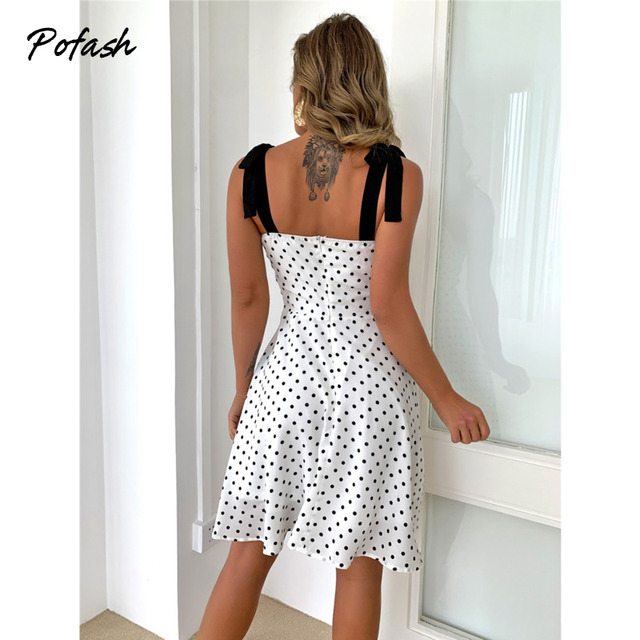 Pofash White Dot Summer Dress Women Bow Black Spaghetti Strap Sexy Backless Mini Dresses Female Ruffle Streetwear Vestidos 2021 3