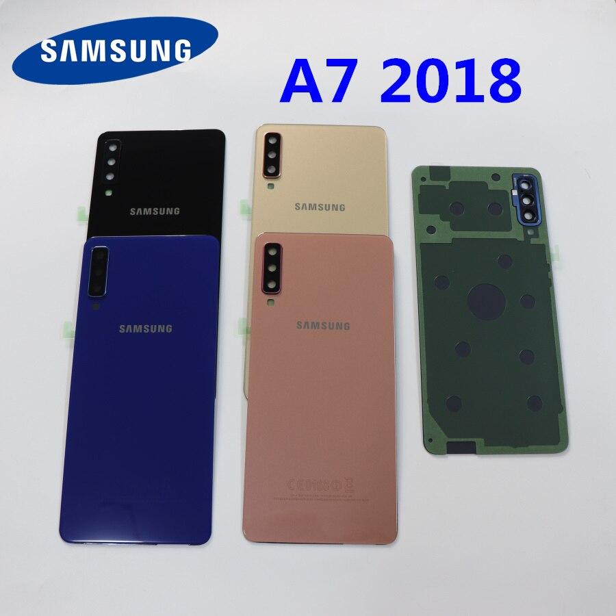 Задняя крышка батарейного отсека SAMSUNG Galaxy A7 2018 A750, чехол A750F SM-A750F A750FN, задняя крышка корпуса, стеклянная панель, запасные части