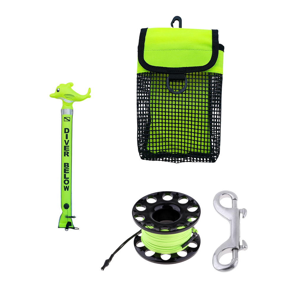 SMB Surface Marker Buoy Safety Sausage Tube, Dive Reel, Mesh Bag- Great Diving Equipment For Scuba Diving & Snorkeling