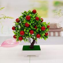 1Pc Potted Artificial Fruit Tree Bonsai Stage Garden Wedding Party Decor Props Vivid Color Beautiful Non-fading