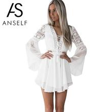 Hollow Out Chiffon Cross V-Neck Long Sleeve Lace Mini Dress