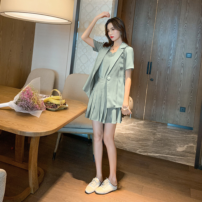 Small Suit Set WOMEN'S Dress 2019 Summer New Style Korean-style WOMEN'S Wear Solid Color Dungaree Shirt Short Skirt 1740