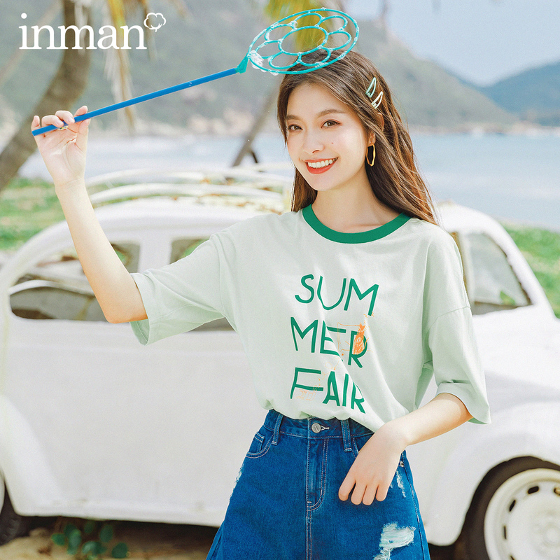 INMAN 2020 New Arrival Grilish Contrast Color O-neck Cotton Half Sleeve Loose Print T-shirt