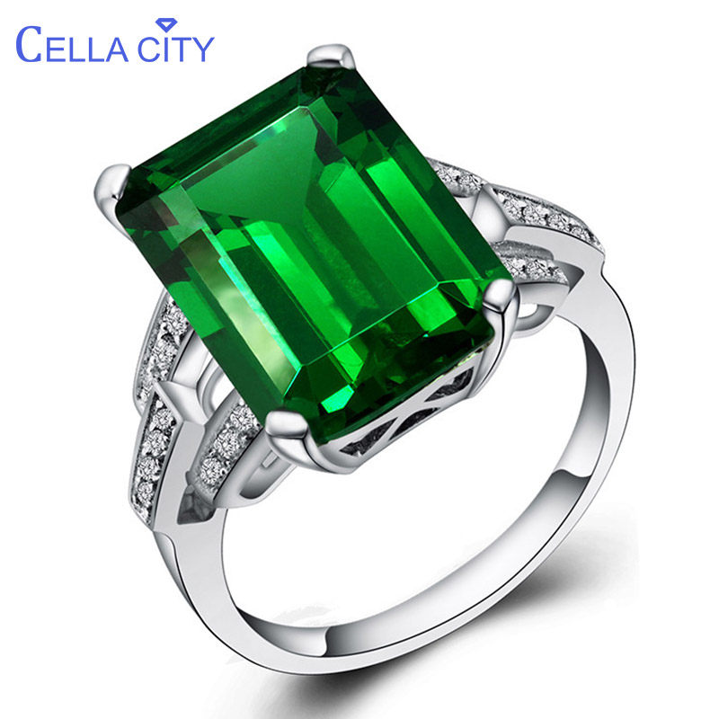 Cellacity  Vintage Emerald Ring For Women Silver 925 Big  Green Gemstone Finger Jewelry Anniversary Wholesale Gift Size 6-10