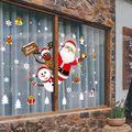 Família decoração de natal natal adesivo de natal desenhos animados janela removível loja janela papai noel boneco de neve