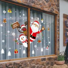 Family Christmas Decoration Sticker Cartoon Removable Window Shop Santa Claus Snowman