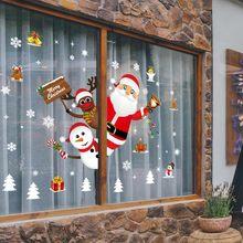 Family Christmas Decoration Sticker Cartoon Removable Window Shop Santa Claus Snowman