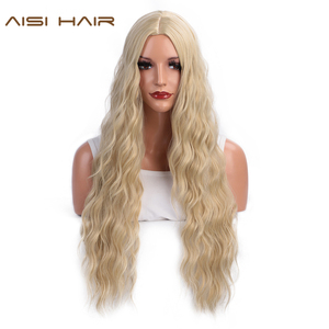 Image 1 - AISI HAIR  Long Wavy Blonde Wigs Black and Brown Natural Hair Heat Resistant Synthetic Wigs for Women African American