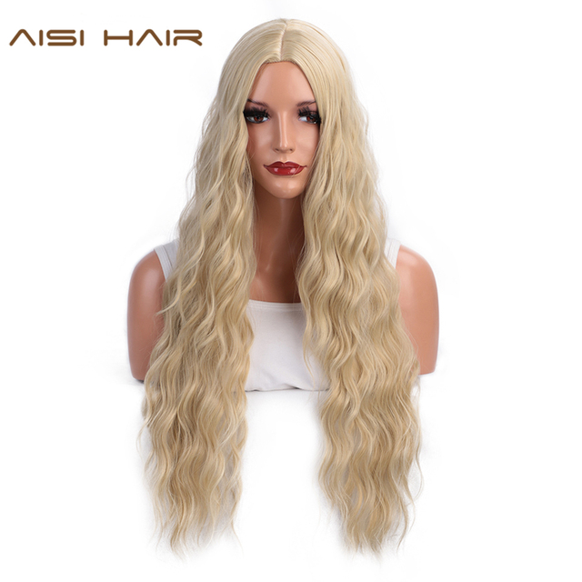 AISI HAIR  Long Wavy Blonde Wigs Black and Brown Natural Hair Heat Resistant Synthetic Wigs for Women African American