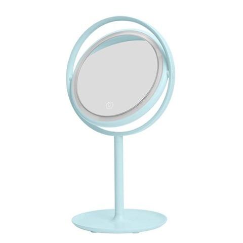 Round desktop espelho vaidade de carregamento conduziu a l mpada mesa com luzes rotativo luz