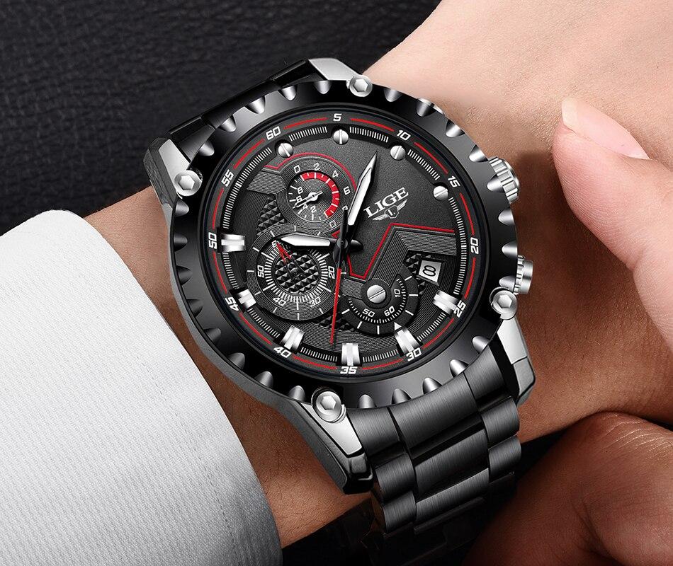 H8ac5ace71be34a84beab2adeb2d9da36l LIGE Top Brand Luxury Mens Fashion Watch Men Sport Waterproof Quartz Watches Men All Steel Army Military Watch Relogio Masculino