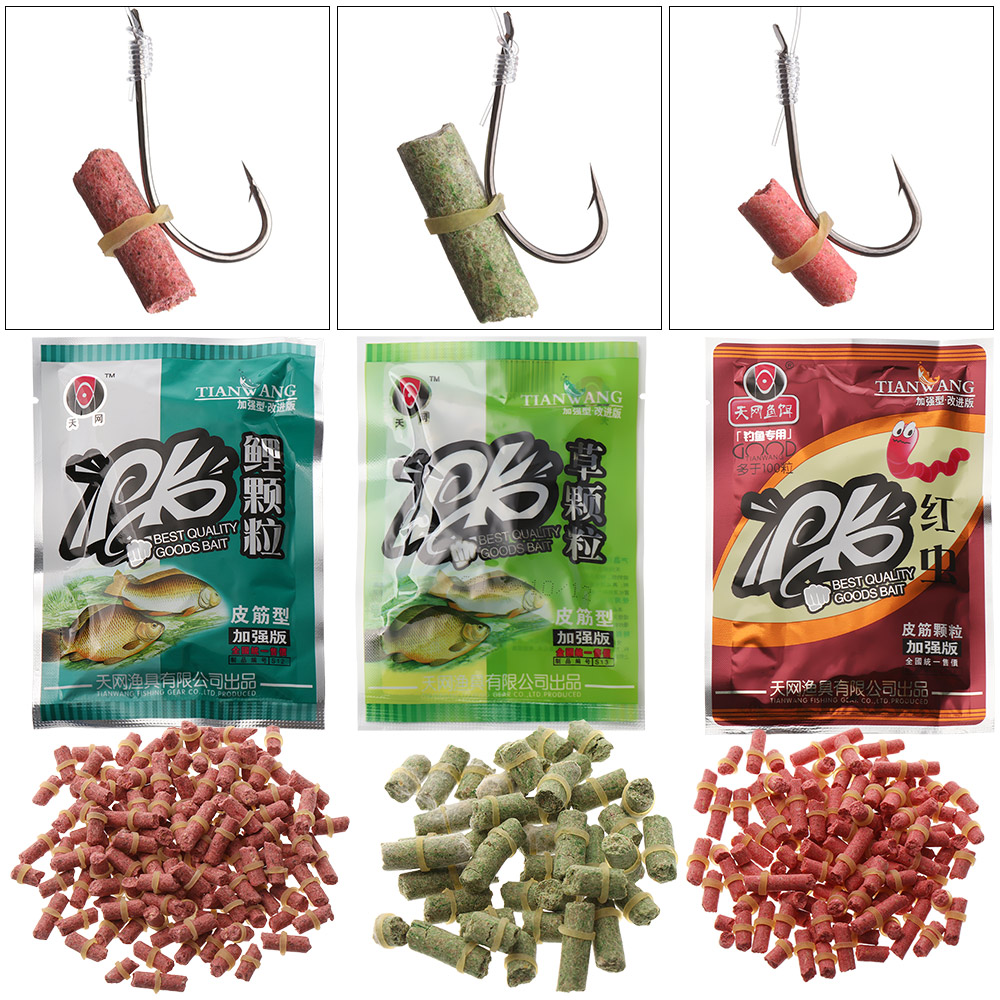 100 PCs/Bag High Quality Carp Fishing Bait Worm Smell Grass Carp Baits Formula Insect Particle Particle Fishing Tackle
