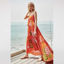2019 Limited Polyester None Empire Loose Dress European And American Sexy Bohemian Tube Top Print Slit Long Chiffon Women