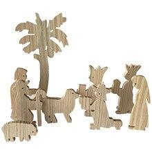 Toy Wood Scene Nativity-Set Montessori Gifts Manger Wedd Hoilday Best Creche Inspired