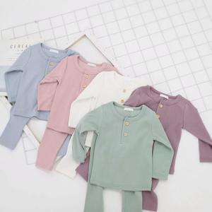 Baby Clothes Pajamas Sets Boys Girls Ribbed Pajamas Set Children Cotton Sleepwear Baby Bodysuit Home Suit 2PCS Clothes(China)
