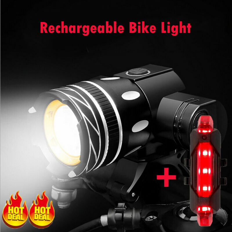 UK Rechargeable 15000LM XM-L T6 LED MTB Bicycle Lights Bike Front+Rear Headlight