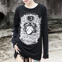 Onoti Molazo Gothic Print T-shirt Tops Women Harajuku Black Long Sleeve Vintage Grunge Streetwear Top T-shirts Tees 2019 Autumn